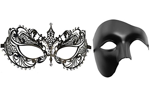 Couple's Venetian Masquerade Mask Set Luxury Style Princess Party Mask (Couples Cosplay Costumes)