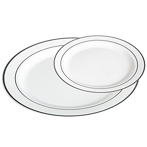 Premium 50 Pack White with Silver Rim Plastic Plates - Includes 25 Dinner Plates and 25 Salad Plates by Alpha & Sigma