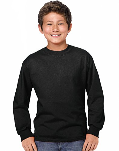 Hanes Youth ComfortSoft TAGLESS Long-Sleeve T-Shirt Black L