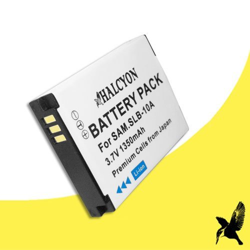 Halcyon 1350 mAH Lithium Ion Replacement Battery for Samsung WB350F Smart Digital Camera and Samsung SLB-10A (1,350 Mah Replacement)