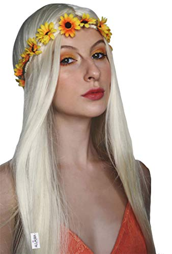 ALLAURA Hippie Wig Women 70s Costume + Flower Headband Accessories Girls Long Blonde Hippy -