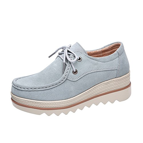 SEXYTOP Women Comfy Solid Color Wedge Shoes Sewed Low Top Suede Leather Penny Shoes Platform Slip On Loafers Moccasins
