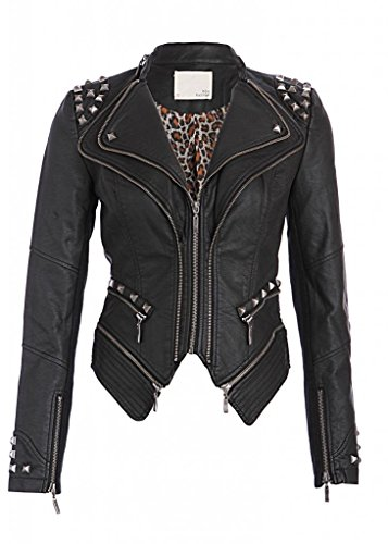 (Pretty Attitude Rocking Cool Black Studded Punk Style Pu Faux Leather Slim Fit Biker Jacket)