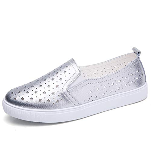 bredLily Summer Casual Flats Women Shoes Round Toe Genuine Leather Slip on Ladies Shoes Woman -