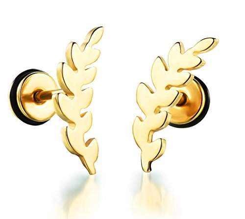Aegean Olive - Aegean Jewelry Titanium Stainless Steel Women's Olive Leaf Fashion Stud Earrings with a Gift Box