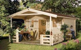Weka - Chalet de jardin 19m2, madriers 45mm, Terrasse avant toit de ...