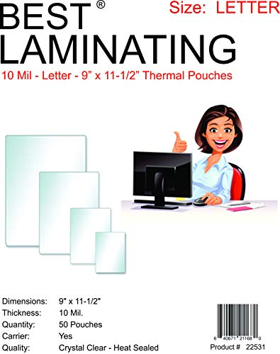 Best Laminating - 10 Mil Clear Letter Size Thermal Laminating Pouches - 9 X 11.5 - Qty 50