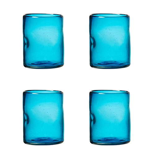 Amici Home, A7MCR065S4R, Ensenada Collection Double Old Fashioned Drinking Glass, Mexican Artisan Handmade Glassware, Recycled Glass, Dishwasher Safe, Aqua, Set of 4, 12 Ounces ()