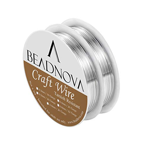 BEADNOVA Bare Copper Wire Tarnish Resistant Jewelry Making Wire (Silver Plated, 26 Gauge)