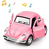 1:38 Diecast Car Play Vehicles Classic Diecast Model Cars Moving Toys Pull Back Action with Lights and Music Pink