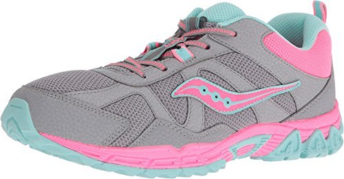 Image of Saucony Kids Girl's Escape (Big Kid) Grey/Coral/Turquoise 4 M US Big Kid