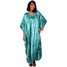 Satin Caftan, Print with Under Water Lillies, Plus Size, Style#Caf-46