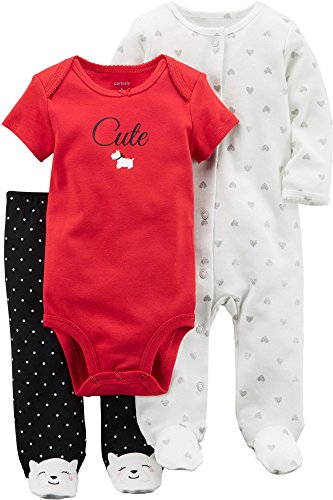 Carter's Baby Girls' 3 Piece Dog Pajama Set 3 Months ()