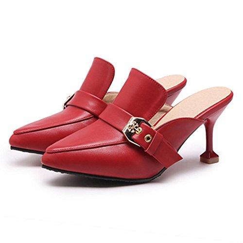 Bout Femmes TAOFFEN Mules red Ferme 5vXppCwq