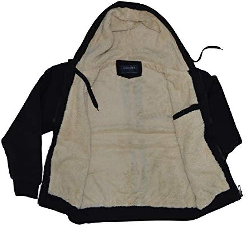 thb Richter Męska kurtka z kapturem, kurtka zimowa, z futrem, pluszowa podszewka, ciepła podszewka, bluza z kapturem z podszewką: Odzież