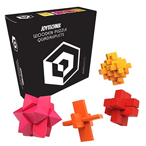 3D Puzzle Games for Adults - Wooden Brain Teaser Box Set [Test Your Mind with This Hard Puzzle Toy] Wood Burr IQ Puzzle Cube - Great for Coffee Table or Desk [Difficult Brainteaser Can You Master it?]