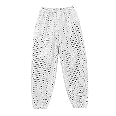 TiaoBug Kids Boys Girls Spakle Sequin Punk Style Loose-Fit Dance Pants Modern Jazz Hip Hop Street Dance Bloomers Trousers: Clothing
