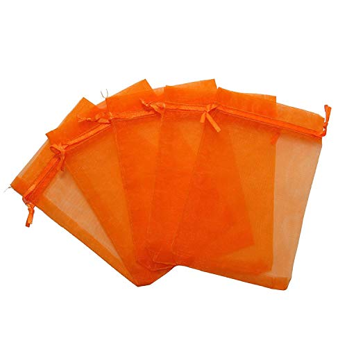RakrisaSupplies 250Pcs Orange Organza Bags 4x6 w/Drawstring | Accurate Sizing, Reinforced Stitching & Crease Free Sheer Organza Pouches (Bag Sheer Organza)