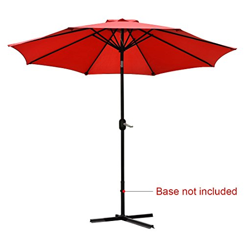Quictent Red 9FT Patio Umbrella Tilt Aluminum Outdoor Market Umbrella With Crank and Wind Vent 100% Polyester