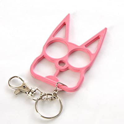 PARA Cat Self Defense Safety Keychain Key Ring Holder Pink