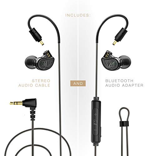 MEE audio M6 PRO 2nd generation Musicians' In-Ear Monitors Wired + Wireless Combo Pack: includes stereo audio cable and Bluetooth audio adapter (Black)