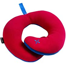 BCOZZY Chin Supporting Travel Pillow - Supports the Head, Neck and Chin in Maximum Comfort in Any Sitting Position. A Patented Product. (ADULT, RED)