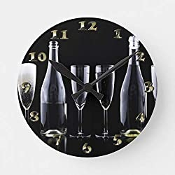 EnjoyHome New Years Day Champagne Toast Wall Clock Decorative Rustic Cabin Country Decor Battery Operated Silent Wood Clock Large 16 inches