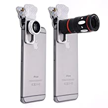 Phone Camera Lens Haldissim 4-in-1 Mobile Phone Clip-On Camera Lens Kit,Fish Eye Lens, Macro Lens, Wide Angle Lens and Telephoto Lens with universal clip for Most of Smart phone and iPad (silver)