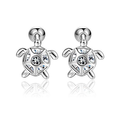 18G Stainless Steel Turtle Stus Earrings For Women Men Cartilage Helix Piercing Jewelry Lobe 6mm Barbell Earrings(White)