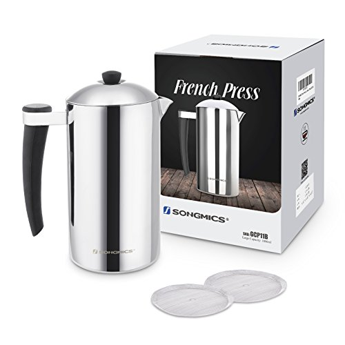 SONGMICS French Press Coffee Maker Double Walled Insulated 18/8 Stainless Steel 34 oz 1L for 8 Cups with 2 Bonus Filter Screens UGCP11B