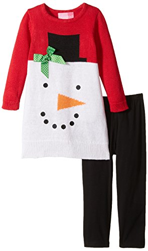 Good Lad Little Girls' Snowman Face Sweater Legging Set, Red, 4