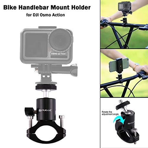 PULUZ for DJI Osmo Action Bicycle Holder Stand 360° Whirl Bike Handlebar Mount Holder ,Bike Clamp Bracket Stand For DJI OSMO Action Camera Accessories (black)