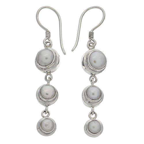 NOVICA Sterling Silver Dangle Earrings with Cultured Freshwater Pearls, Three Full Moons