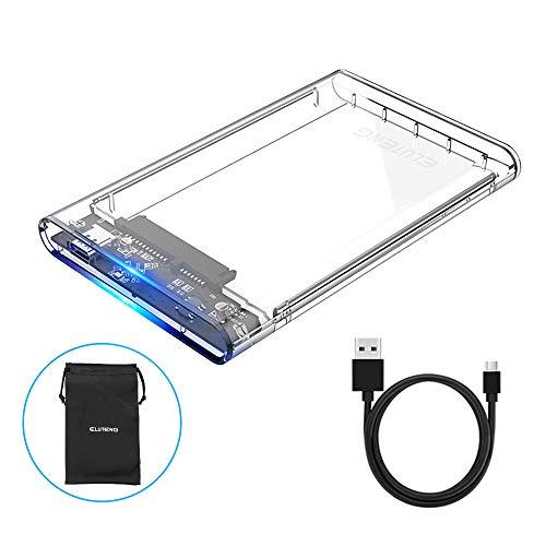 USB C 2.5 Hard Drive Enclosure, ELUTENG SSD Enclosure USB C HDD Enclosure UASP Clear Type C External Hard Drive Case USB3.0 - USB3.1 Cable Transparent SATA to USB C SSD Compatible for 9.5mm/7mm 2T
