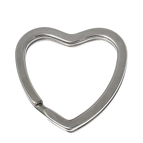 Sadingo Anneaux Porte-clé s Forme de Coeur –  Lot de 10 –  Argenté  –  3, 1 x 3, 1 cm 1x 3 1cm
