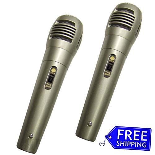 (Uni Directional Wired Microphone Dynamic Mic 10 Ft Cord DJ PA Karaoke On Off Switch 2 Pack Lot )