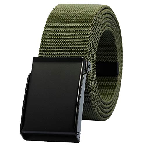 moonsix Elastic Web Belts for Men,Solid Color Stretch Military Style Flip-Top Belt,Army Green