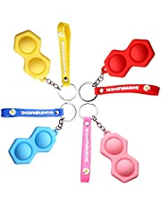 Mini Silicone Fidget Toy Key Ring, Poppers Toy, Fidget Keyring Pop It for Kids and Adults, Portable Anxiety Relief Toys Set, Toddler Early Educational Brain Development Toy.