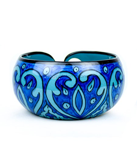 Nagina International Ceramic Attractively Hand Painted Gorgeous Stoneware Yarn Ball Storage Bowl with Innovative Dispensing Curl | Knitting & Crochet Accessions (Large, Deep Water Blue) by Nagina International (Image #2)