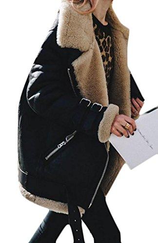 UUYUK Womens Popular Suede Lamb Wool Coat Shearling Moto Jacket Black US (Lamb Suede)