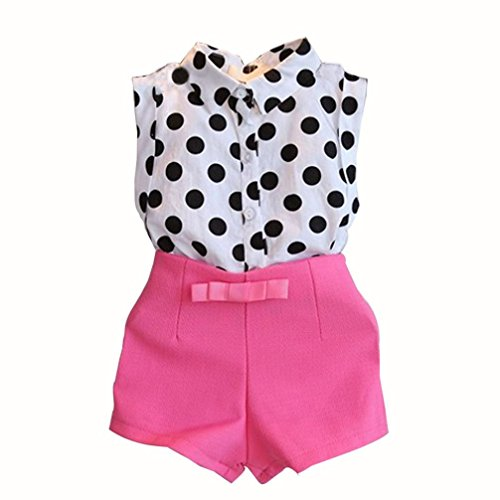 Lanpan Girl Child Kid Polka Dot T-shirt Tops + Pink Bowknot Pants Shorts 1Set (7-8Y, Hot Pink)