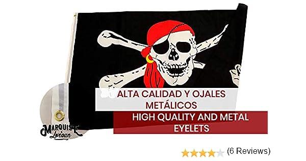 MARQUISE & LOREAN Bandera De Barco Pirata Pata Palo Grande Súper Resistente para Exteriores y Fiestas de Niños 150x90 cm Mira: Amazon.es: Hogar