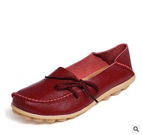 Hee Grote Dames Leren Instappers Loafer Flats Pumps Wijn 5 B (m) Ons