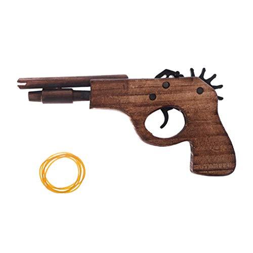 - Hoiert Simulation Bullet Rubber Band Launcher Wood Gun Hand Pistol Guns Shooting Toy