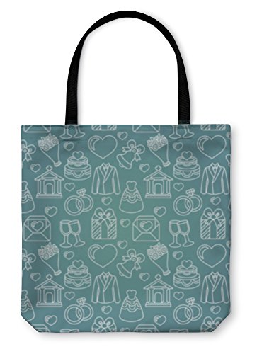 Gear New Shoulder Tote Hand Bag, Pattern With Wedding Icons, 18x18, 6065308GN by Gear New