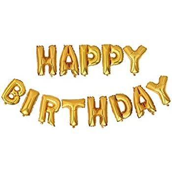 Air Filled Gold Letter Happy Birthday Balloons