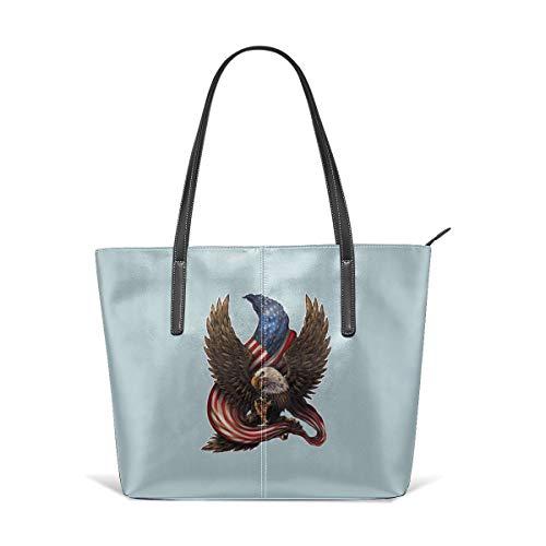 - King Dare Bald Eagle Merica America Women Fashion Handbags Tote Bag Shoulder Bag Top Handle Satchel - Microfiber PU Leather