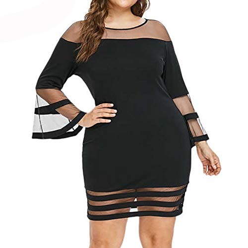 Women's Dresses Casual Plus Size Long-Sleeved Lace Mini Dress Pure Color O-Neck Patchwork Skirt Casual Loose Tops ()