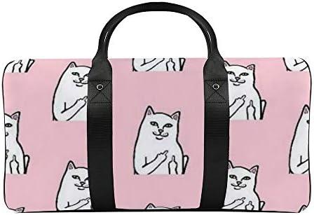 ボストンバッグ ダッフルバッグ ピンク 猫柄 ネコ スポーツバッグ 旅行バッグ 旅行カバン メンズ レディース ジムバッグ キャリーオンバッグ 大容量 トラベルバッグ 収納バッグ ショルダバッグ カート固定ロープ付き