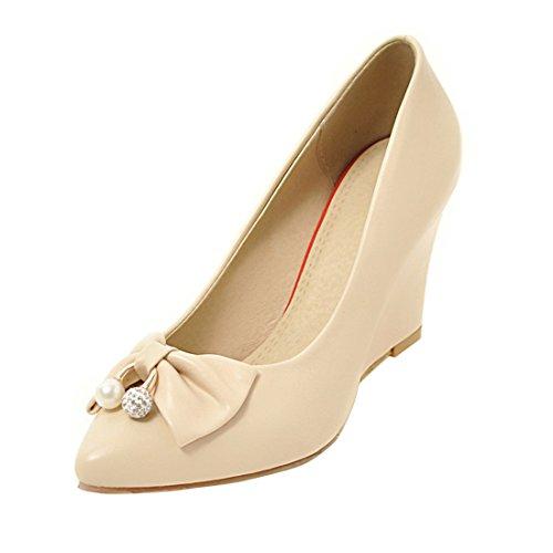 YE Damen Keilabsatz Spitze Pumps High Heels mit Schleife und Perlen Elegant Schuhe Beige
